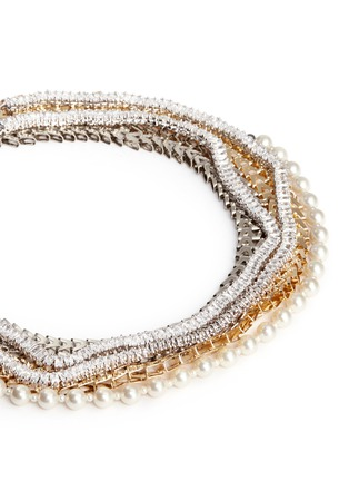 Detail View - Click To Enlarge - Venna - Strass pavé chevron chain pearl necklace