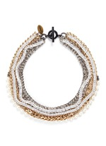 Strass pavé chevron chain pearl necklace