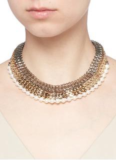 VennaStrass pavé chevron chain pearl necklace