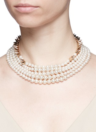 Figure View - Click To Enlarge - Venna - Cone spike pearl strand necklace
