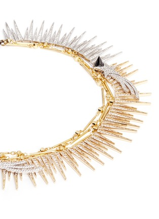 Detail View - Click To Enlarge - Venna - Strass pavé fringe star chain necklace