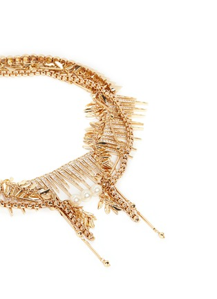 Detail View - Click To Enlarge - Venna - Strass pavé fringe mix chain necklace