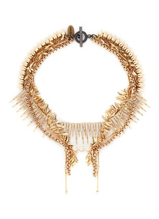 Main View - Click To Enlarge - Venna - Strass pavé fringe mix chain necklace