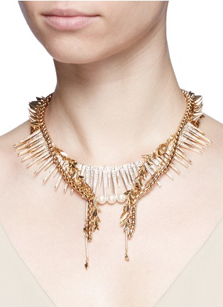 Figure View - Click To Enlarge - Venna - Strass pavé fringe mix chain necklace