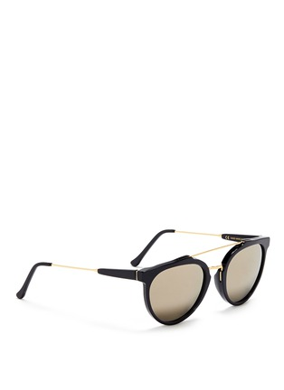 Figure View - Click To Enlarge - SUPER - 'Giaguaro' metal bridge acetate sunglasses