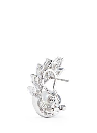 CZ by Kenneth Jay Lane-Faux pearl cubic zirconia vine clip earrings