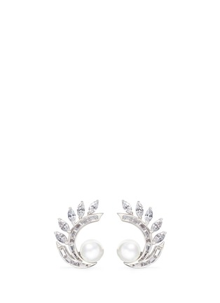Main View - Click To Enlarge - CZ by Kenneth Jay Lane - Faux pearl cubic zirconia vine clip earrings