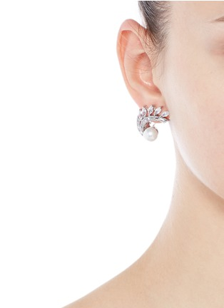 Figure View - Click To Enlarge - CZ by Kenneth Jay Lane - Faux pearl cubic zirconia vine clip earrings