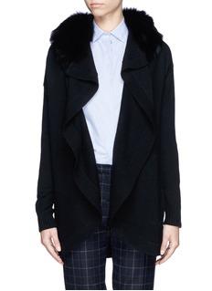 THEORY'Farlee' detachable fox fur collar cardigan