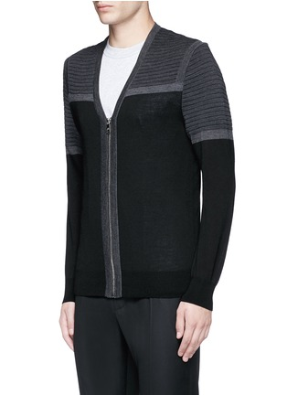 Front View - Click To Enlarge - Neil Barrett - Shoulder panel Merino wool zip cardigan