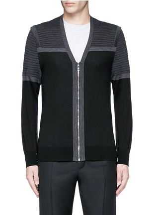 Main View - Click To Enlarge - Neil Barrett - Shoulder panel Merino wool zip cardigan
