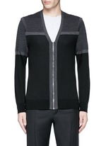 Shoulder panel Merino wool zip cardigan