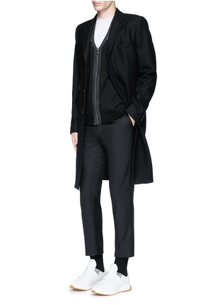 Figure View - Click To Enlarge - Neil Barrett - Shoulder panel Merino wool zip cardigan