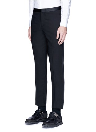 Front View - Click To Enlarge - Neil Barrett - Satin tuxedo stripe virgin wool pants