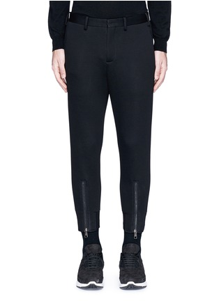 Main View - Click To Enlarge - Neil Barrett - Zip cuff bonded jersey tailored pants
