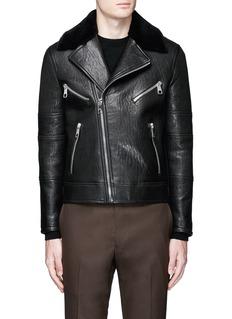 Neil BarrettLamb shearling collar leather biker jacket