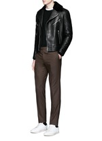 Lamb shearling collar leather biker jacket