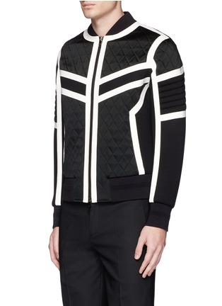 Front View - Click To Enlarge - Neil Barrett - Contrast trim quilted bomber jacket
