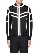 Contrast trim quilted bomber jacket