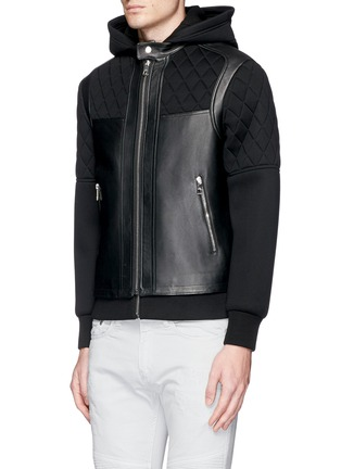 Front View - Click To Enlarge - Neil Barrett - Leather front bonded jersey double zip hoodie