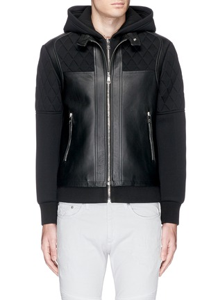 Main View - Click To Enlarge - Neil Barrett - Leather front bonded jersey double zip hoodie