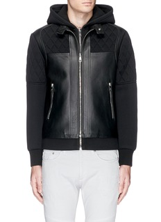 Neil Barrett Leather front bonded jersey double zip hoodie