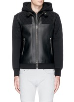 Leather front bonded jersey double zip hoodie