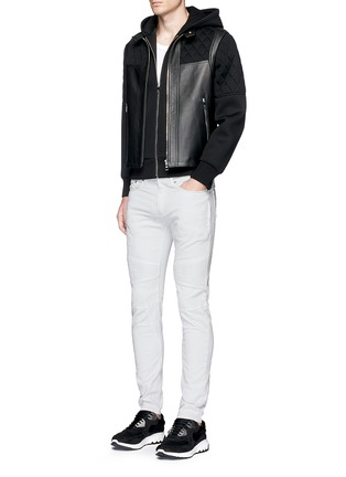 Figure View - Click To Enlarge - Neil Barrett - Leather front bonded jersey double zip hoodie