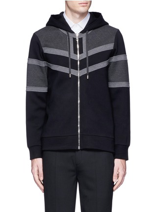 Main View - Click To Enlarge - Neil Barrett - Panelled bonded jersey zip hoodie