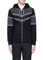 Panelled bonded jersey zip hoodie