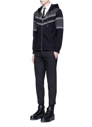 Figure View - Click To Enlarge - Neil Barrett - Panelled bonded jersey zip hoodie
