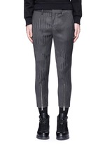 Camouflage pinstripe zip cuff cropped pants