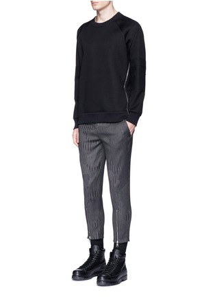 Figure View - Click To Enlarge - Neil Barrett - Camouflage pinstripe zip cuff cropped pants