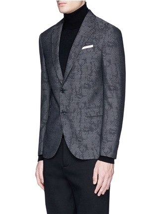 Front View - Click To Enlarge - Neil Barrett - Slim fit camouflage jacquard blazer