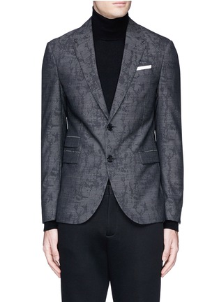 Main View - Click To Enlarge - Neil Barrett - Slim fit camouflage jacquard blazer