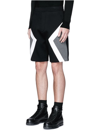 Front View - Click To Enlarge - Neil Barrett - 'Modernist' colourblock bonded jersey shorts