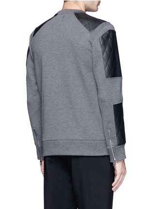 Back View - Click To Enlarge - Neil Barrett - Quilted faux leather patch sweatshirt