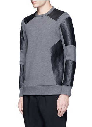 Front View - Click To Enlarge - Neil Barrett - Quilted faux leather patch sweatshirt