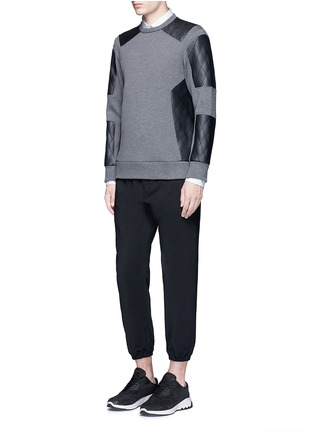 Figure View - Click To Enlarge - Neil Barrett - Quilted faux leather patch sweatshirt