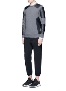 Neil BarrettQuilted faux leather patch sweatshirt