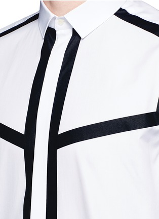 Detail View - Click To Enlarge - Neil Barrett - Contrast stripe cotton poplin shirt