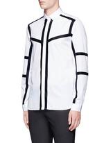 Contrast stripe cotton poplin shirt