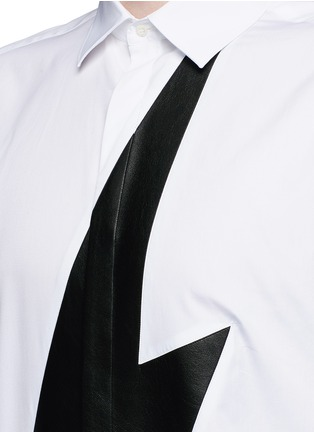 Detail View - Click To Enlarge - Neil Barrett - Leather thunderbolt cotton shirt