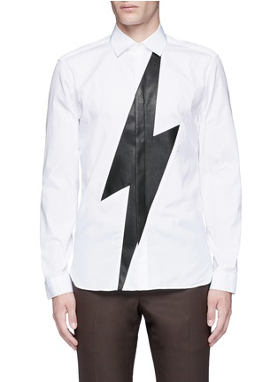 Main View - Click To Enlarge - Neil Barrett - Leather thunderbolt cotton shirt