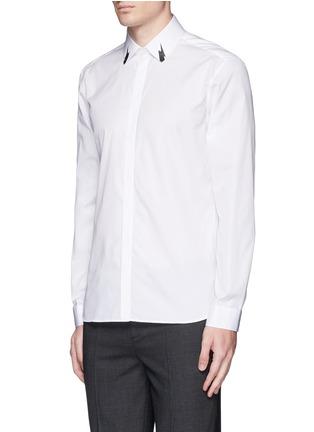 Front View - Click To Enlarge - Neil Barrett - Thunderbolt print collar poplin shirt
