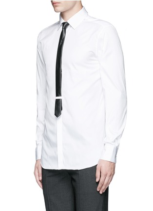 Front View - Click To Enlarge - Neil Barrett - Thunderbolt pin faux leather tie tuxedo shirt