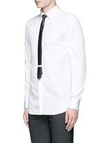 Thunderbolt pin faux leather tie tuxedo shirt