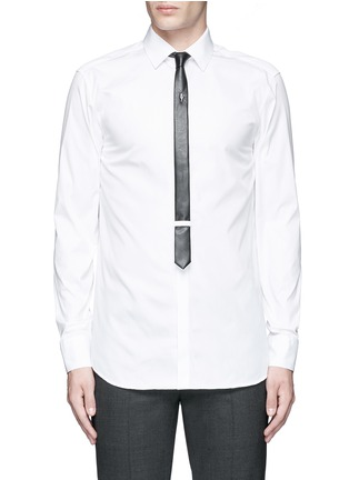 Main View - Click To Enlarge - Neil Barrett - Thunderbolt pin faux leather tie tuxedo shirt