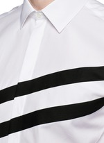 Diagonal stripe poplin tuxedo shirt