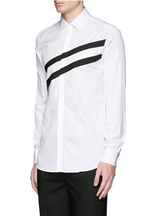 Front View - Click To Enlarge - Neil Barrett - Diagonal stripe poplin tuxedo shirt